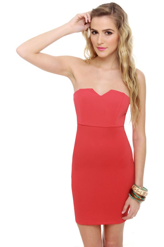 Bombshell Strapless Coral Red Dress