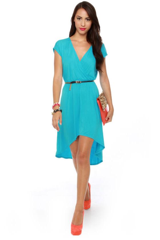Cute Turquoise Dress - Aqua Blue Dress - High Low Dress ...