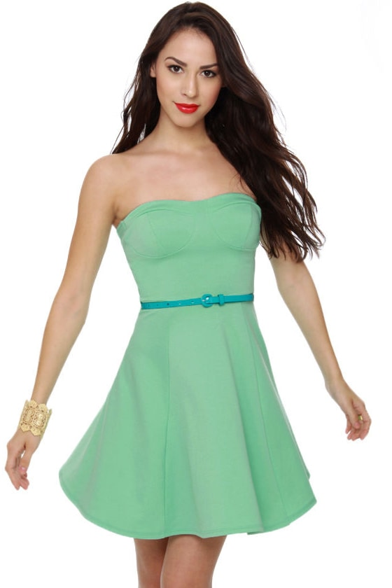 A Flare to Remember Strapless Mint Dress at Lulus.com!