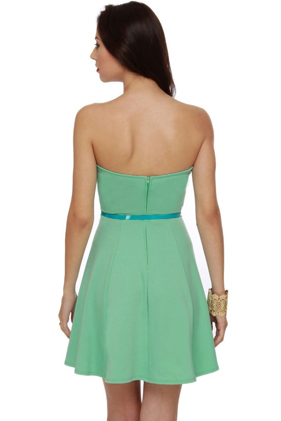 A Flare to Remember Strapless Mint Dress