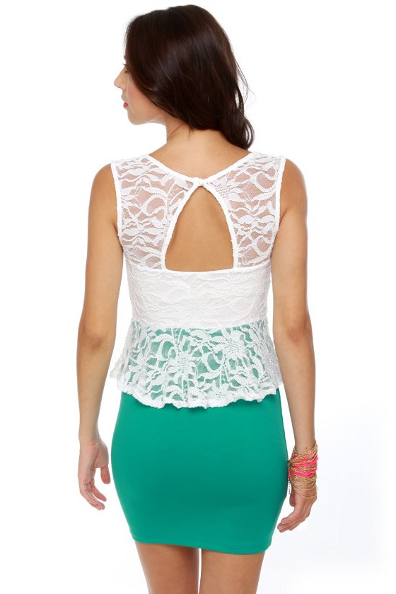 Holly Go-Lacey Ivory and Teal Dress
