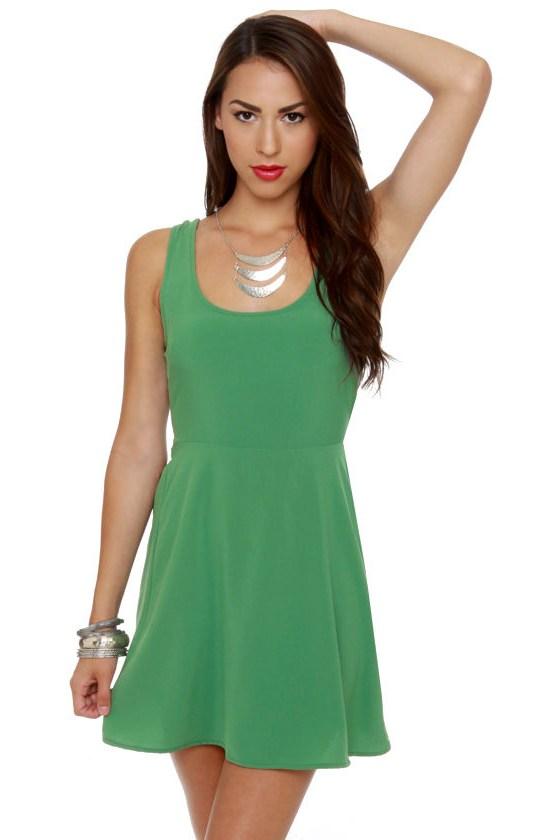 Follow Me Sleeveless Green Dress