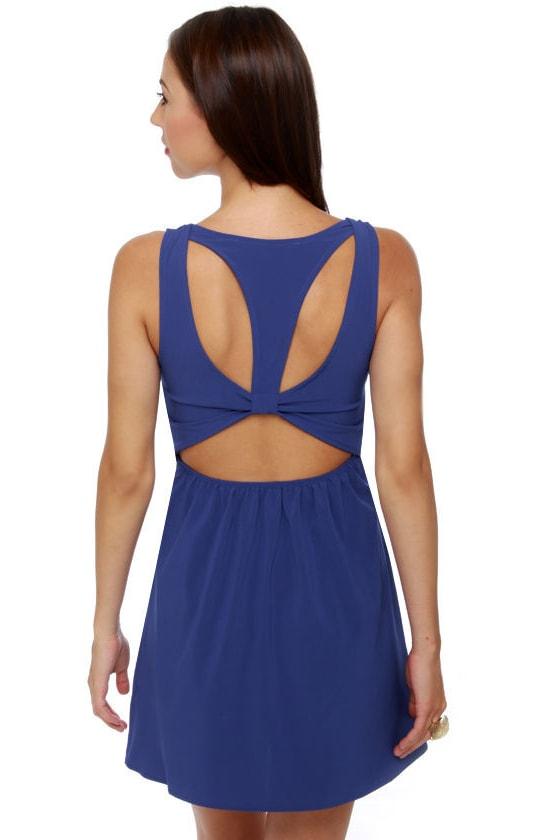 Follow Me Sleeveless Royal Blue Dress