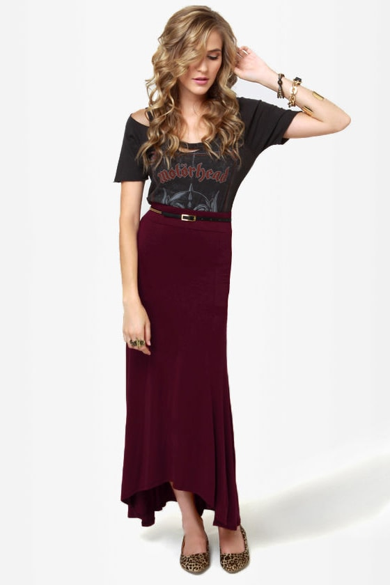 In the Near Flute-ure Burgundy Maxi Skirt