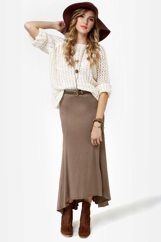 In the Near Flute-ure Light Brown Maxi Skirt