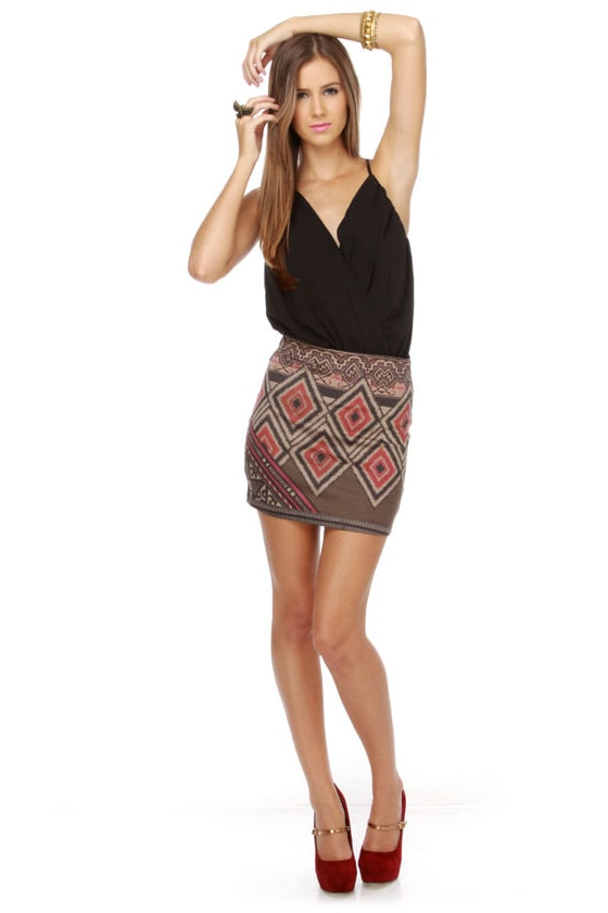 Watchtower Grey and Beige Print Mini Skirt