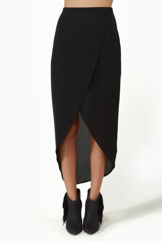 Tulip Season High-Low Black Skirt