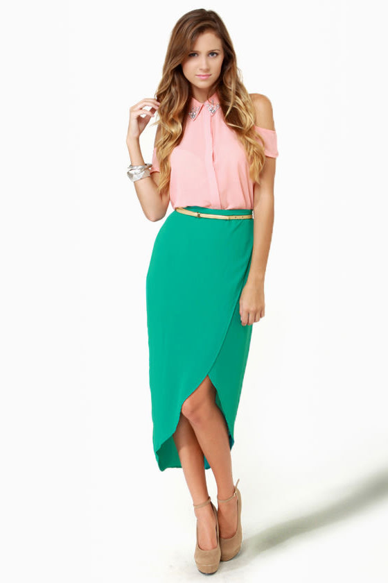 Tulip Season High-Low Teal Skirt