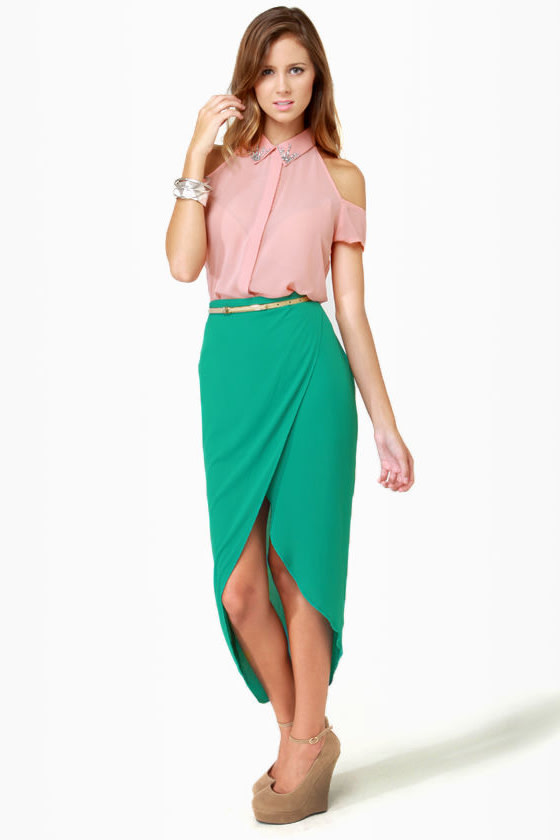chic teal skirt tulip skirt high low skirt 33 00