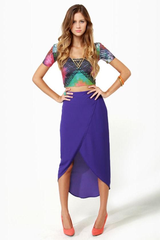 Tulip Season High-Low Purple Skirt