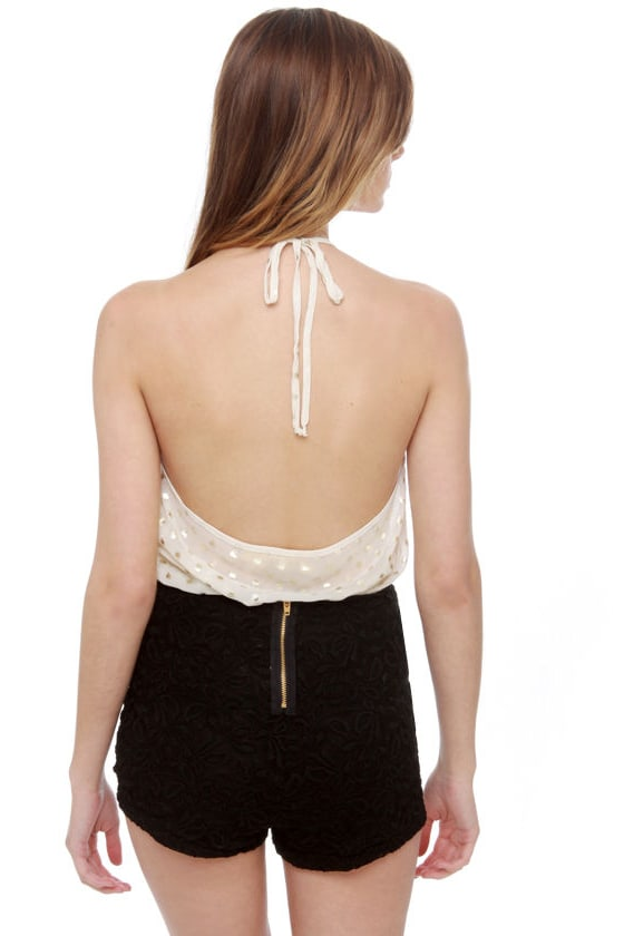 Aphrodite Sheer Gold and Ivory Bodysuit
