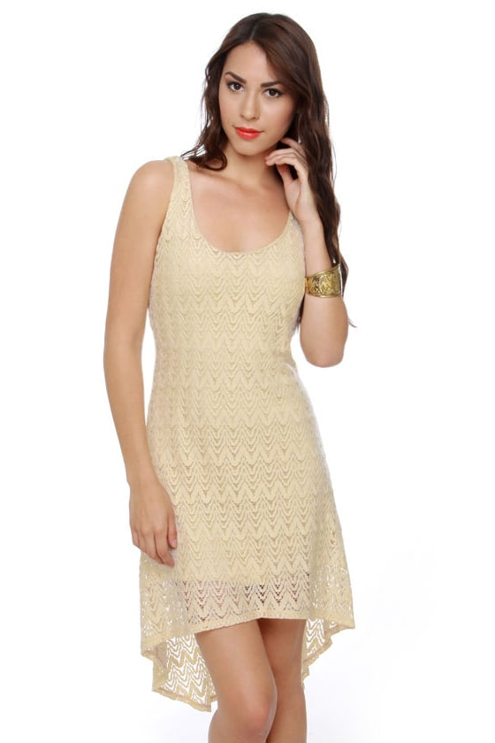 Crochet-ndo Cream Dress at Lulus.com!