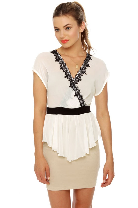 Belgian Espalier Beige and Ivory Dress at Lulus.com!