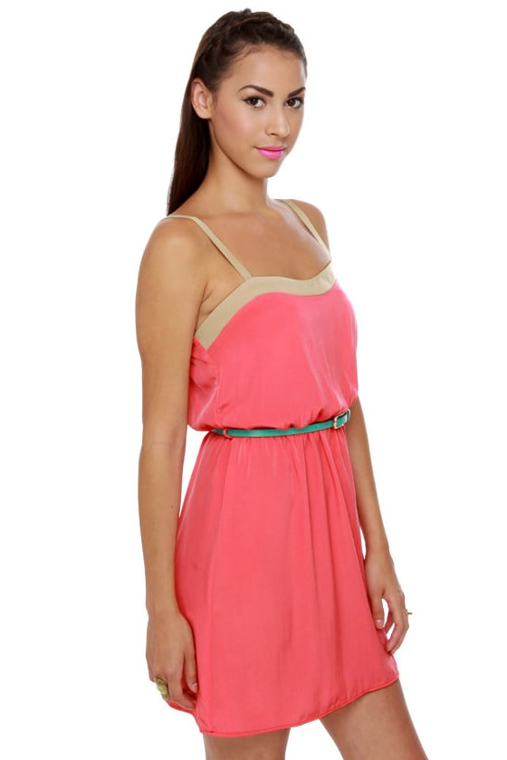 Weekend Forecast Belted Coral Dress