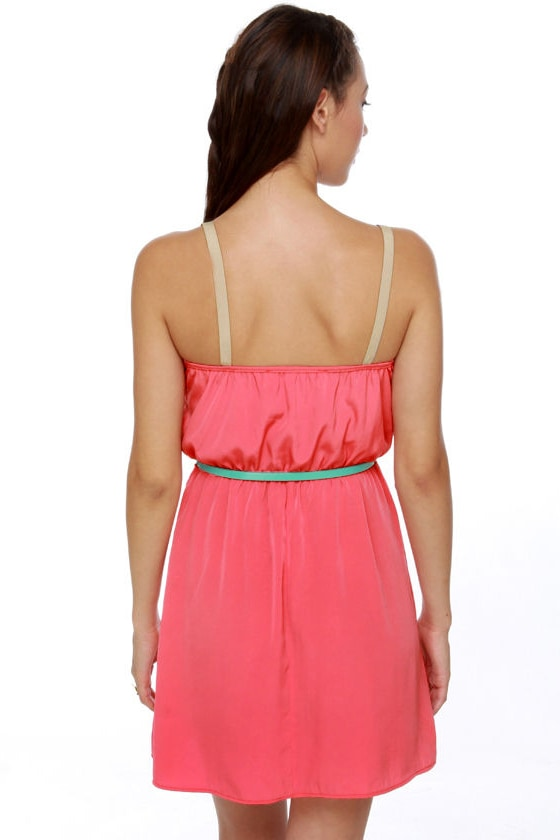Weekend Forecast Belted Coral Dress at Lulus.com!