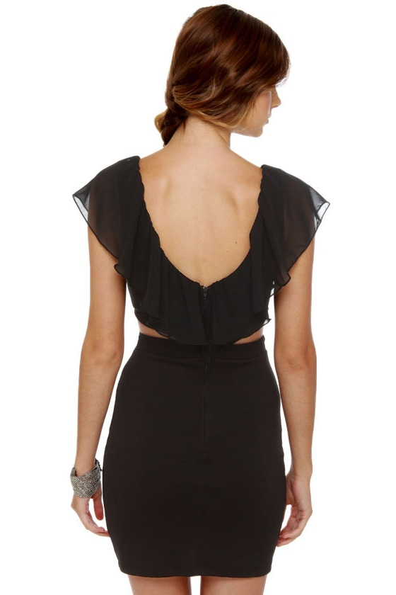 Side Effects Cutout Black Dress