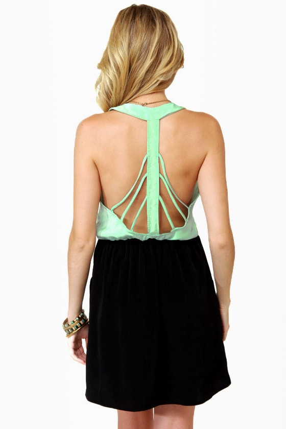 Back Beauty Mint and Black Dress at Lulus.com!