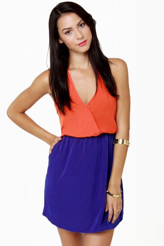Back Beauty Orange and Blue Dress at Lulus.com!