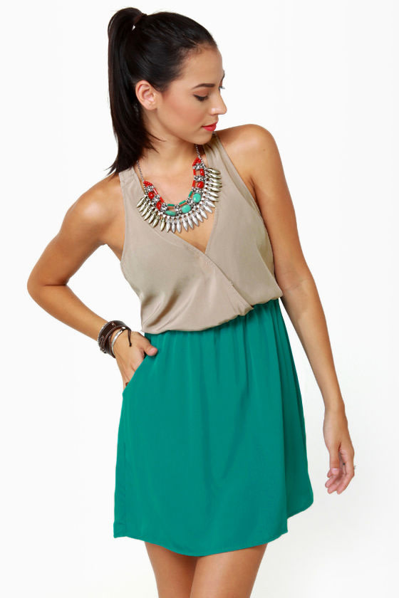 Back Beauty Taupe and Teal Dress