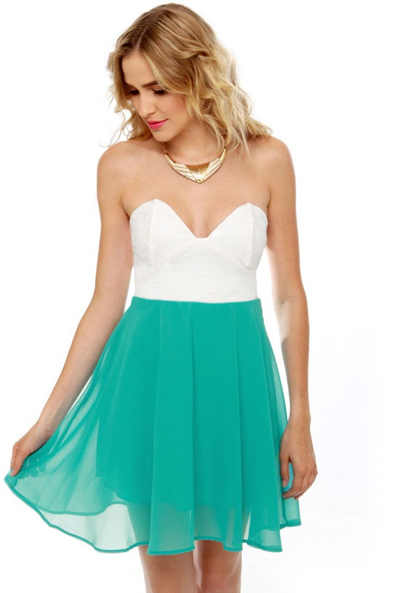 Ta-ra-ra Bustier! White and Turquoise Dress