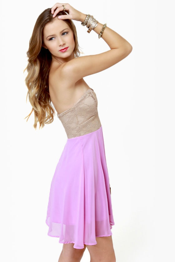Ta-ra-ra Bustier! Taupe and Lavender Dress at Lulus.com!