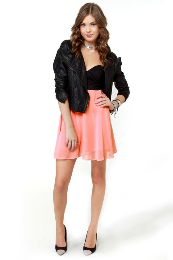 Ta-ra-ra Bustier! Black and Peach Dress