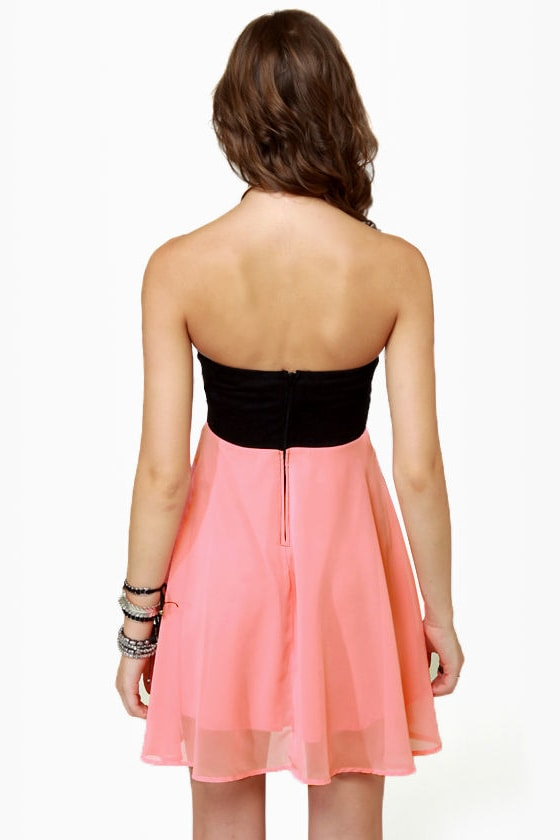 Ta-ra-ra Bustier! Black and Peach Dress at Lulus.com!