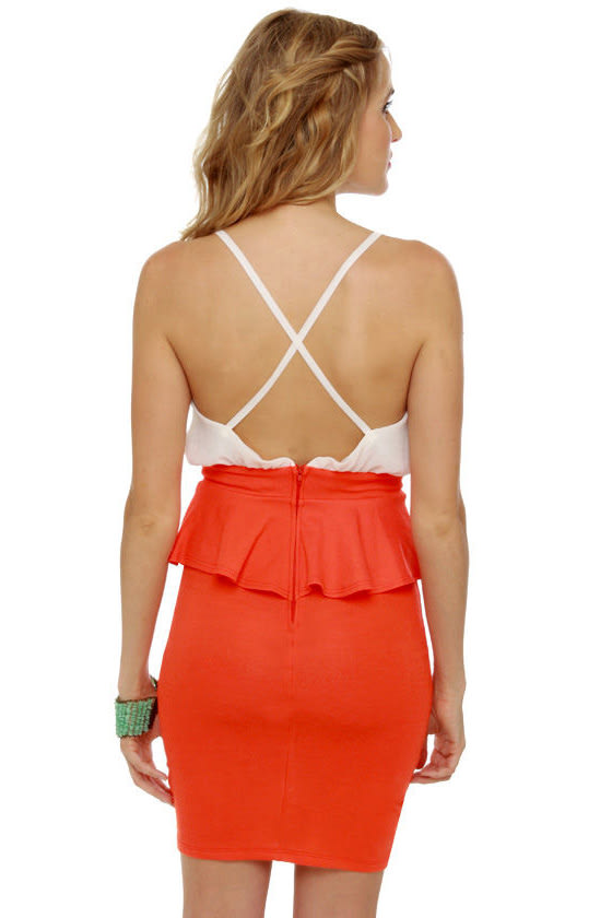 Highbrow and Low Cut White and Orange Dress