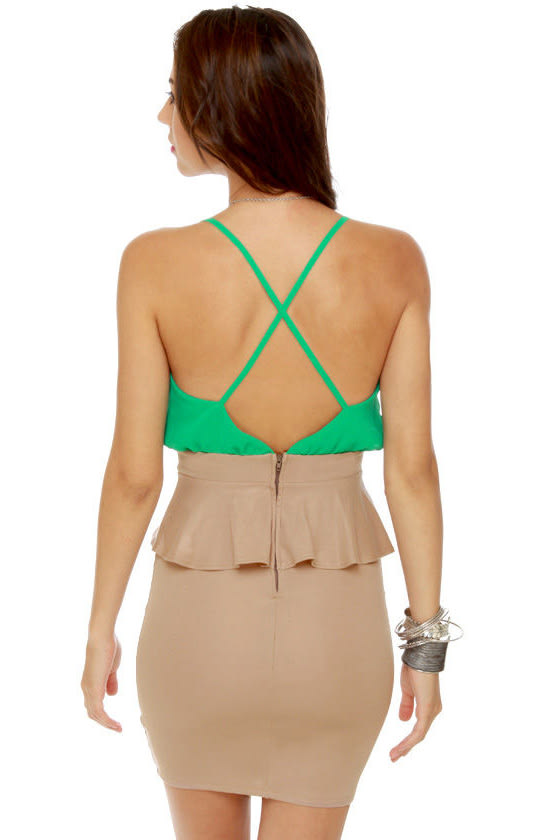 Highbrow and Low Cut Green and Taupe Dress at Lulus.com!