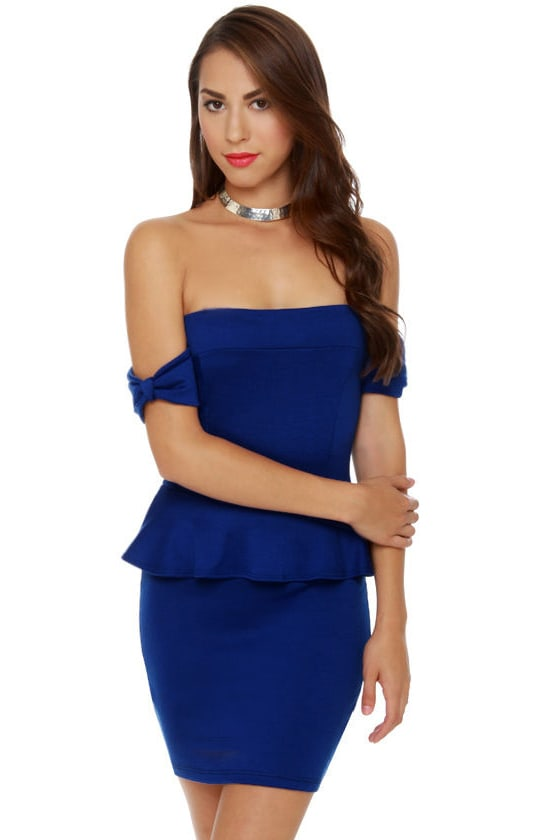 Cute Off The Shoulder Dress Royal Blue Dress Peplum
