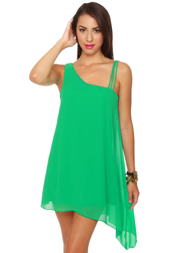 Pretty Green Dress - Shift Dress - Flowy Dress - $35.50