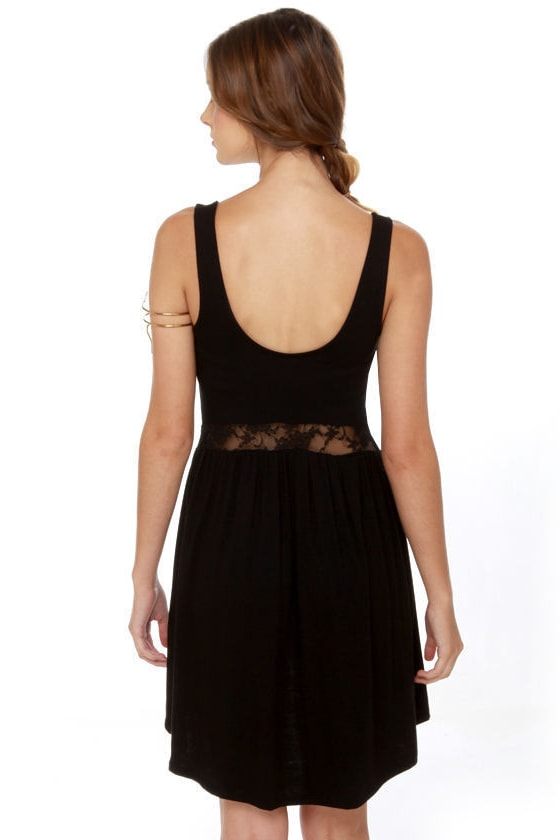 Middle Women Lace Black Dress at Lulus.com!