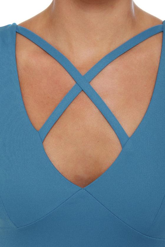 On Your Mark Sleeveless Blue Dress