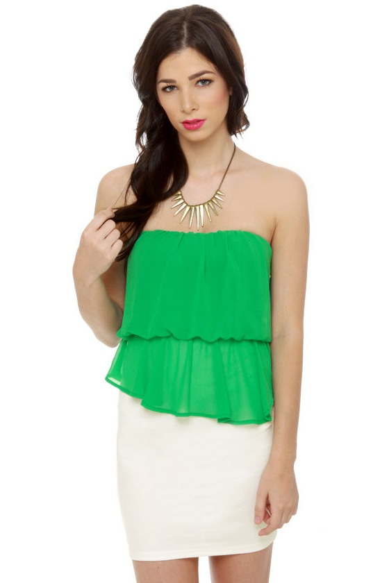Time Flies Strapless White and Green Dress