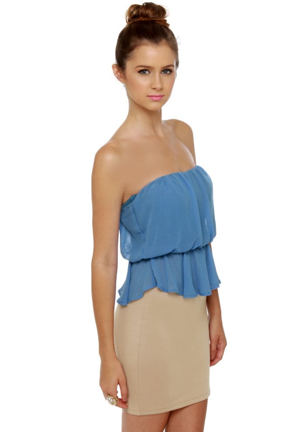 Time Flies Strapless Taupe and Blue Dress