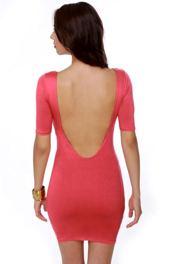Plunges Past Coral Dress