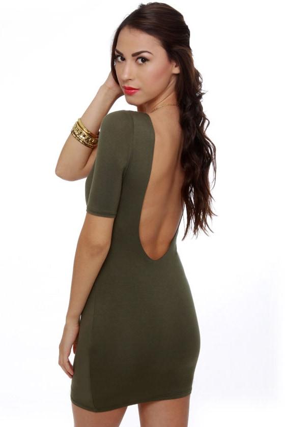 Cute Olive Green Dress - Short Sleeve Dress - $33.00
