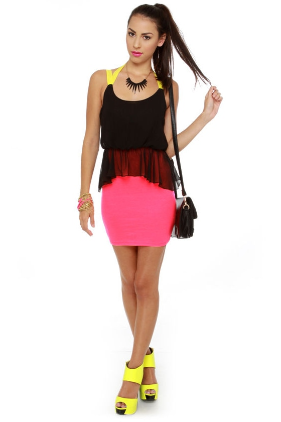 Blacklight House Black and Neon Pink Dress at Lulus.com!