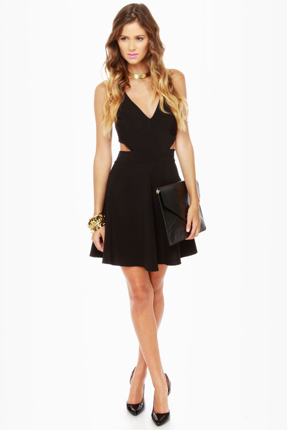 Stuck on You Cutout Black Dress