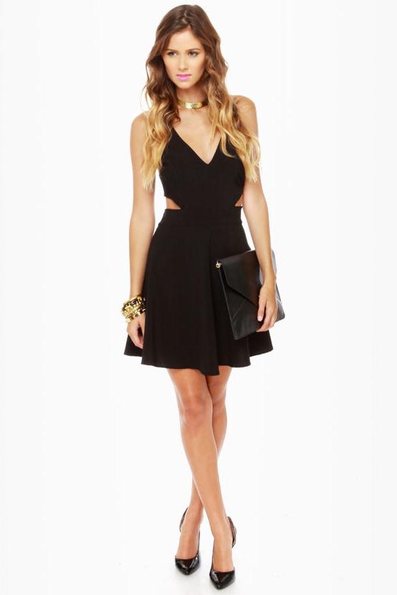 Stuck on You Cutout Black Dress