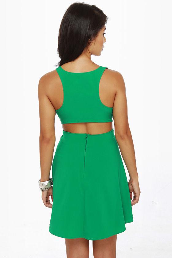 Stuck on You Cutout Green Dress