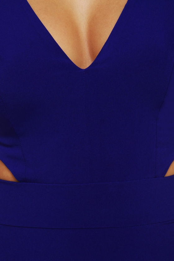 Stuck on You Cutout Royal Blue Dress at Lulus.com!