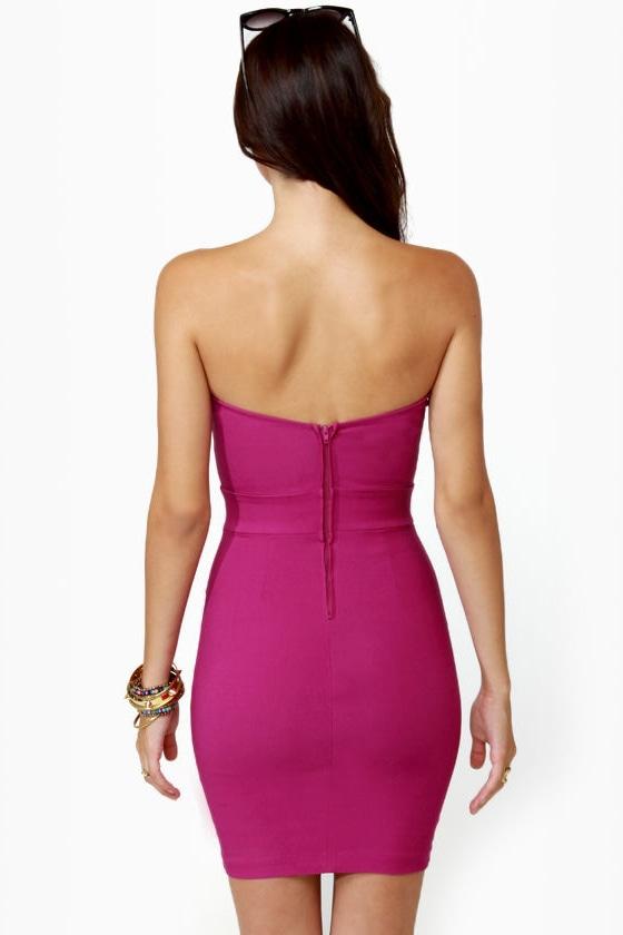 Get Low Strapless Fuchsia Dress