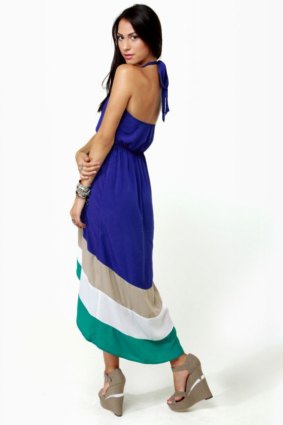 Border Up Blue High-Low Halter Dress at Lulus.com!