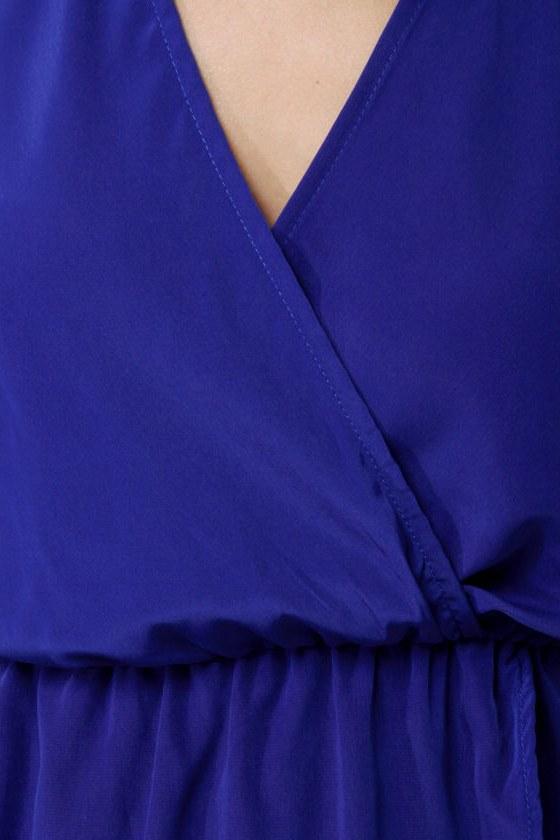 Border Up Blue High-Low Halter Dress