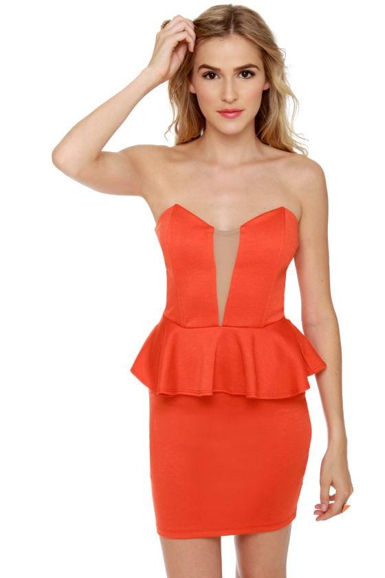 strapless dress orange dress peplum dress 37 50