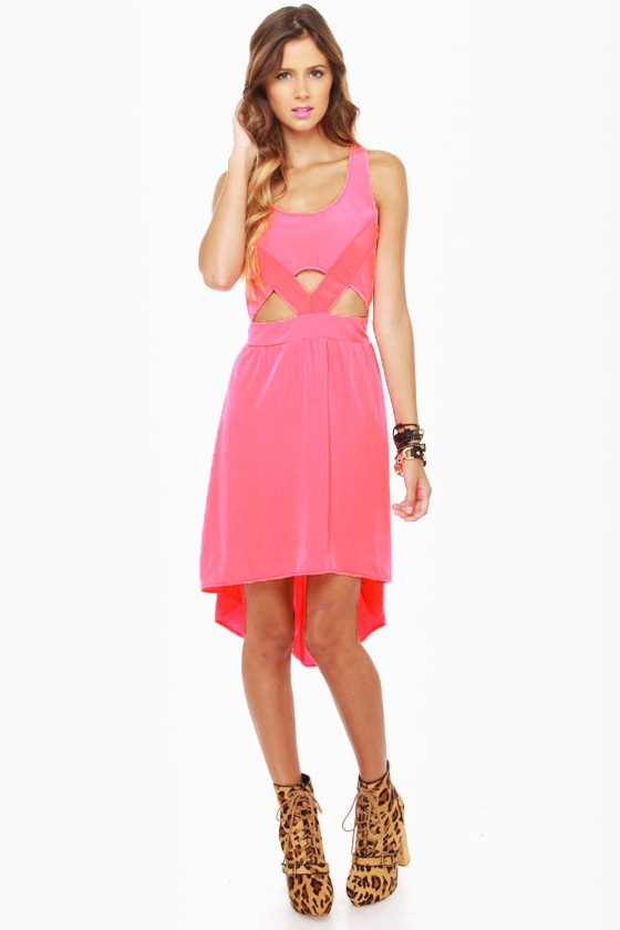 Catch the Wind Neon Pink Cutout Dress