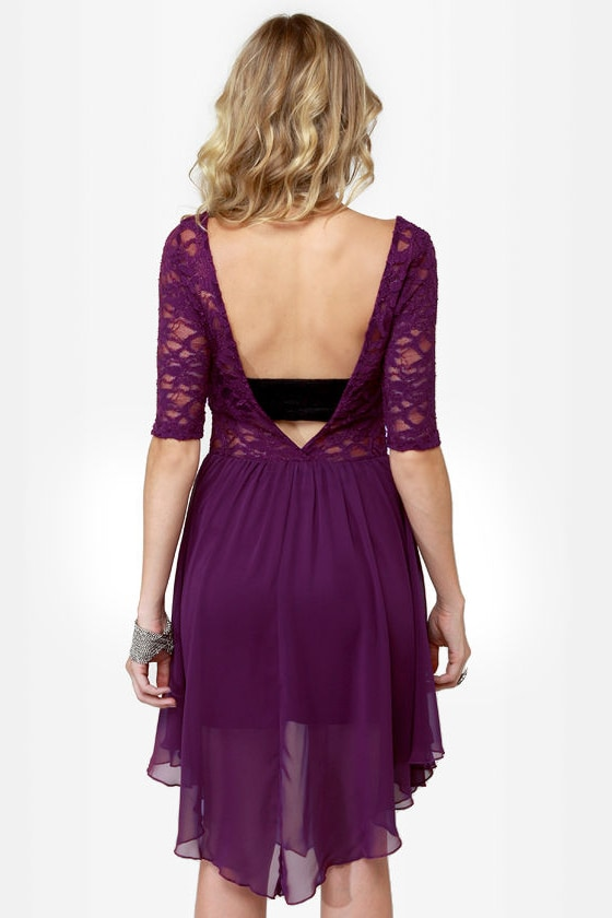 Dancing Days Purple Lace Dress at Lulus.com!