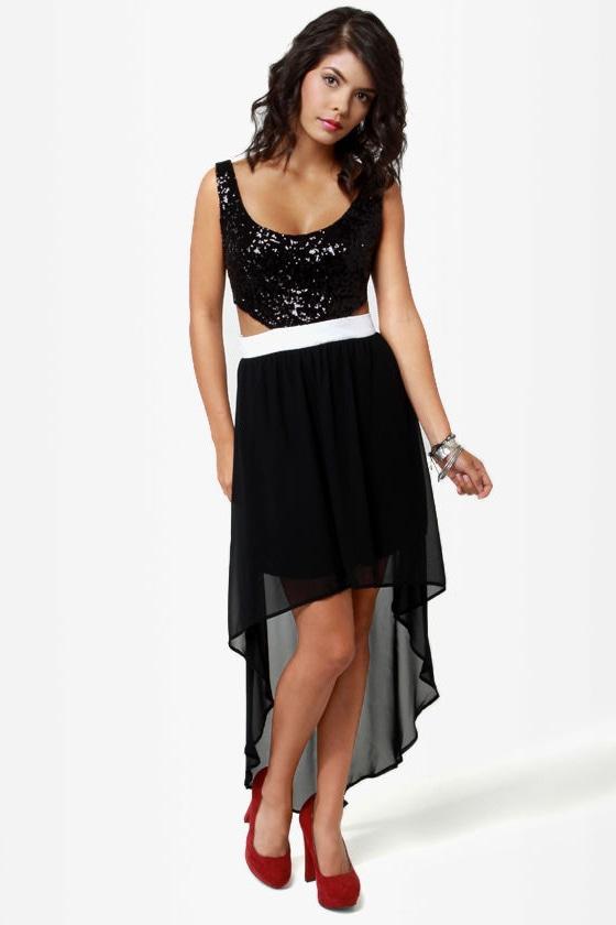 High Sequin-cy Black High-Low Sequin Dress