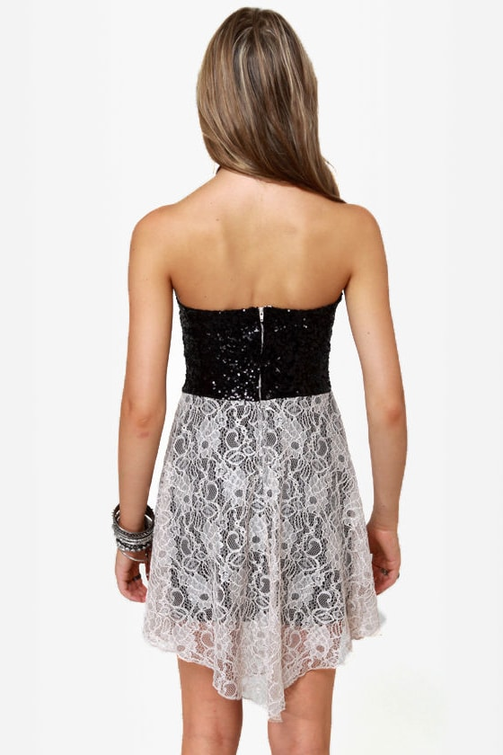 The Works Black and Beige Sequin Lace Dress